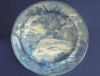 Rare Toft and May 'Hare Coursing' Pearlware Dinner Plate c1820